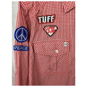 Red Check LS Epic Hero Button Statement Shirt M